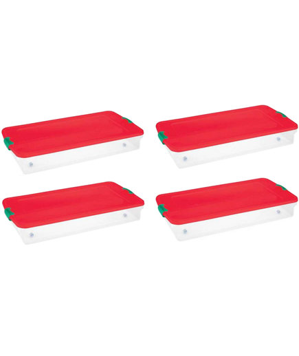 Plastic Under Bed Holiday Storage Box with Wheels