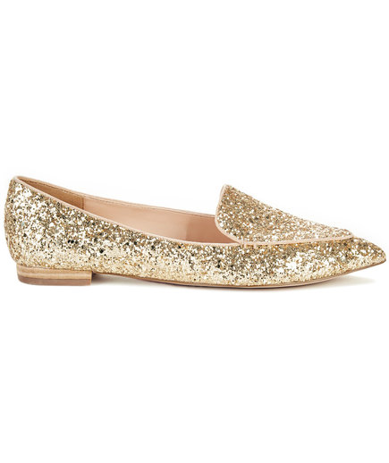 Cammila pointed toe smoking slipper in Champagne