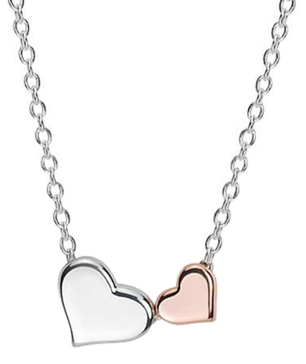 Heart Pendant in silver and rose gold