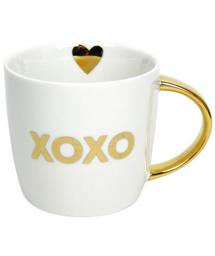 white and gold XOXO Mug