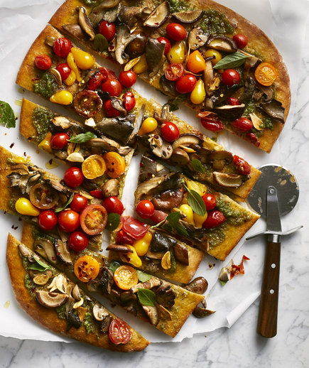 Eliminate Dairy: Miso-Pesto Flatbread With Mushrooms