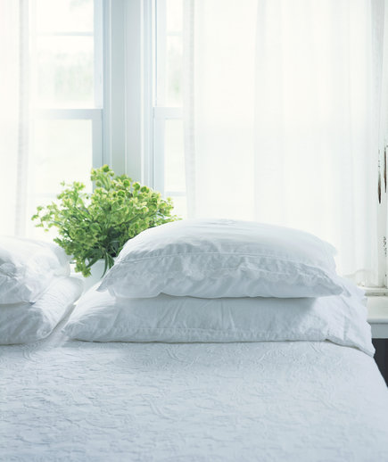 Bed With White Covers and Plant