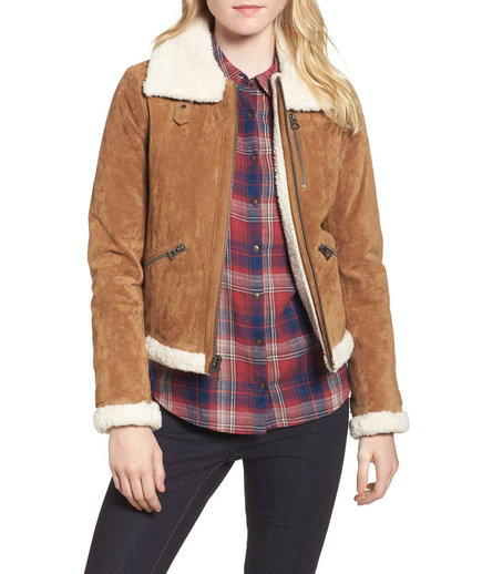 Leather Jacket with Faux Fur Trim