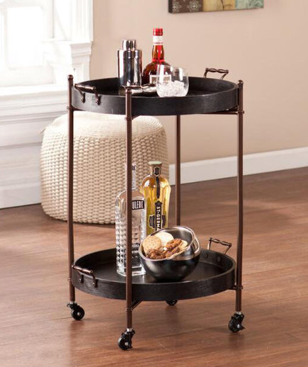 Black Wood Round Two Tier Butler Table