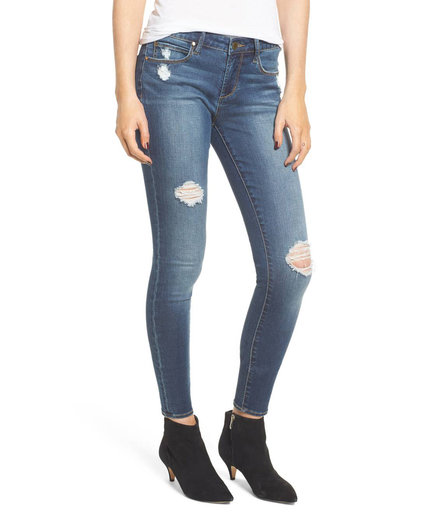 Sarah Shadow Pocket Distressed Skinny Jeans on model