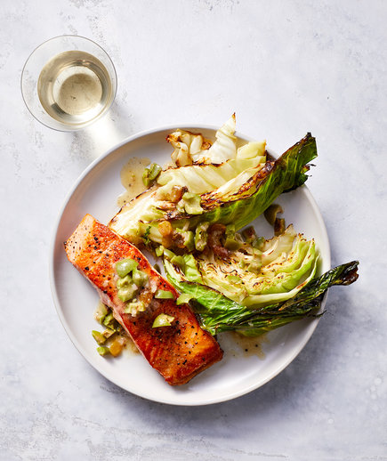 Clone of One-Pan Salmon With Roasted Cabbage and Olive Vinaigrette