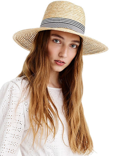 Straw Hat With Grosgrain Ribbon