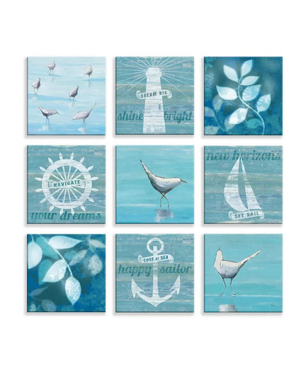 'Nautical Life' 9 Piece Graphic Art Print on Wrapped Canvas