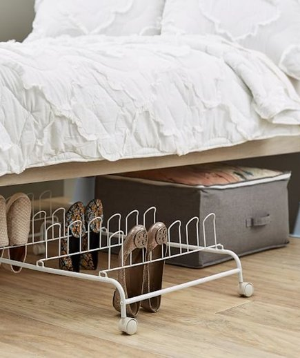 the best under bed storage solutions to hide the clutter real simple. Black Bedroom Furniture Sets. Home Design Ideas