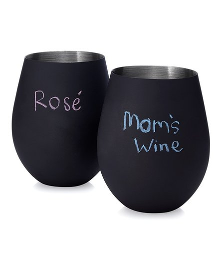 Chalkboard Stemless Wine Glasses