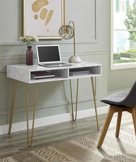 Ikea Marble Computer Desk Amazon Real Simple This Chic Home Office Furniture Will Give Your Workspace Fresh New