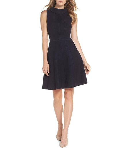 Eliza J Mock Neck Fit-and-Flare Sweater Dress