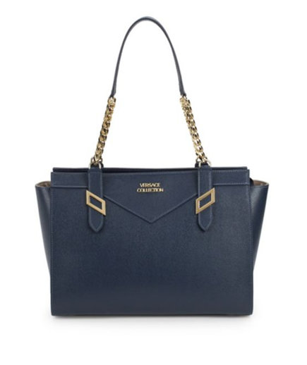 Versace Collection Classic Logo Leather Tote