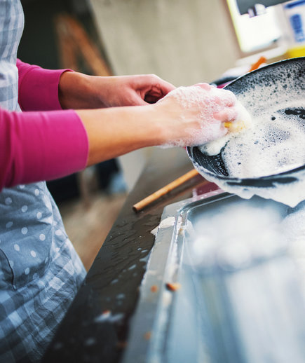 Woman Cleaning Cast Iron Pan in kitchen