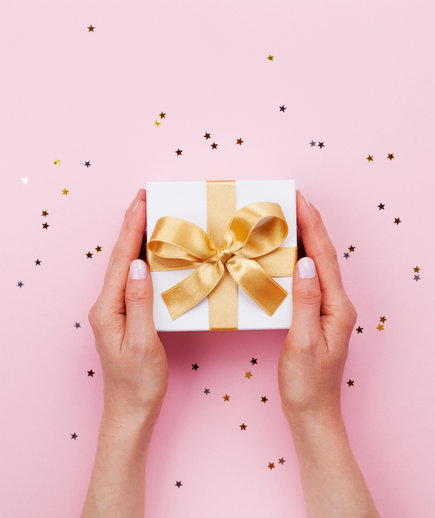 wrapped wedding gift with bow