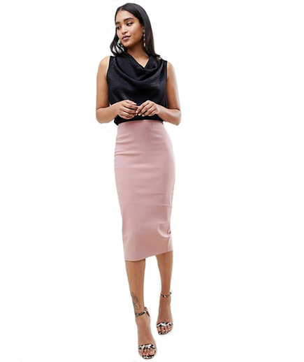 ASOS DESIGN High-Waist Longerline Pencil Skirt