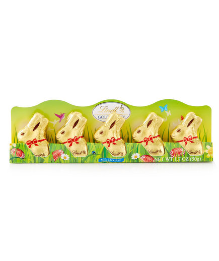 Lindt Mini Gold Milk Chocolate Bunny Five Count