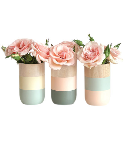 Set of 3 Painted Vases