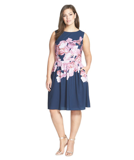 Adrianna Papell Floral Print Chiffon Fit & Flare Dress