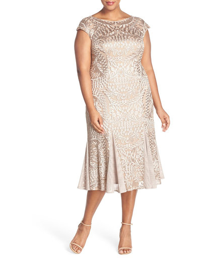 Alex Evenings Embroidered Lace Midi Dress