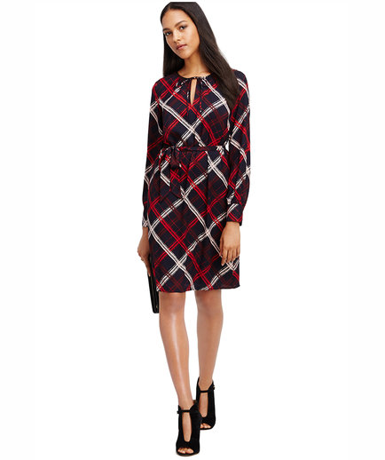 Ann Taylor Sketched Plaid Tie Neck Dress