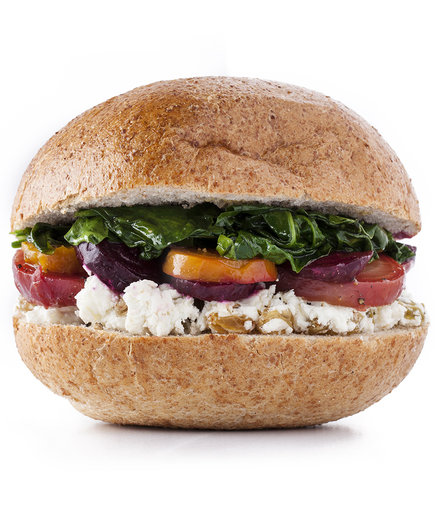 Beets, Spinach, and Goat Cheese Sandwich