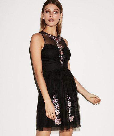 Embroidered Ruched Fit And Flare Dress