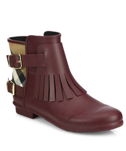 Burberry Fritton Fringe Rubber & House Check Rain Boots