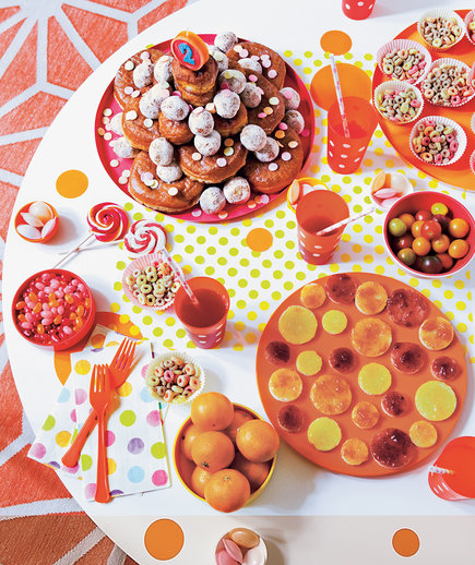 Children's party spread with circle foods and treats - Landscape