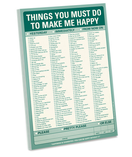 'Things You Must Do to Make Me Happy' Pad
