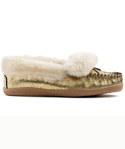 Crackled Metallic Suede Lodge Moccasins