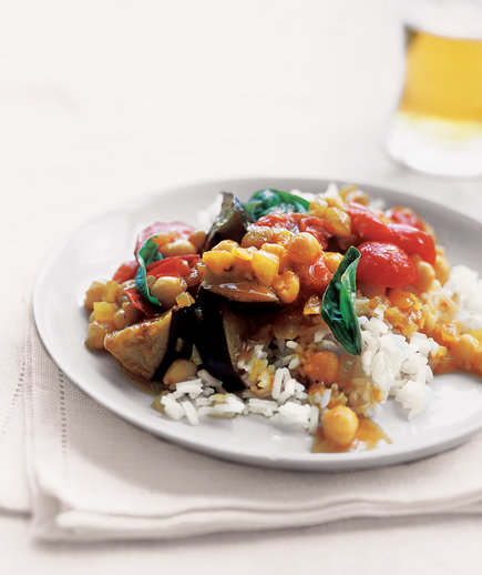 15 easy eggplant recipes real simple curried eggplant with tomatoes and basil forumfinder Choice Image