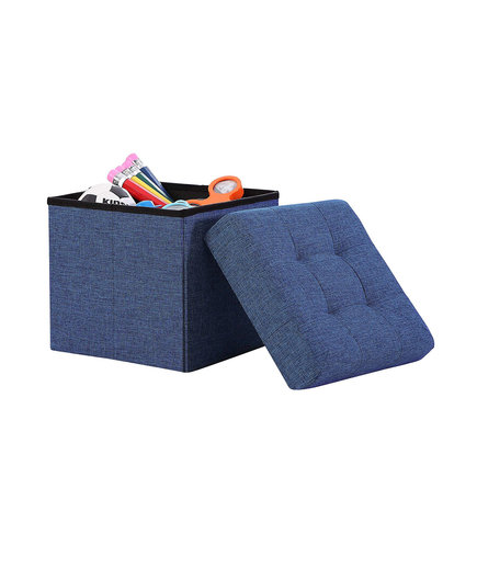 Ellington Home Foldable Tufted Linen Storage Ottoman