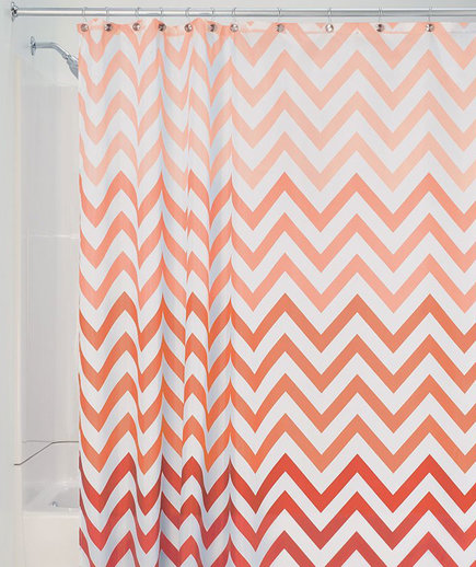 InterDesign 52025 Ombre Chevron Fabric Shower Curtain