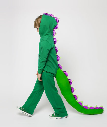 Boy wearing dragon costume