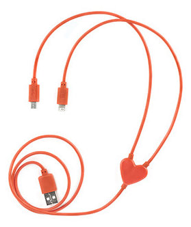 Dual Heart iPhone and Micro USB Charging Cable