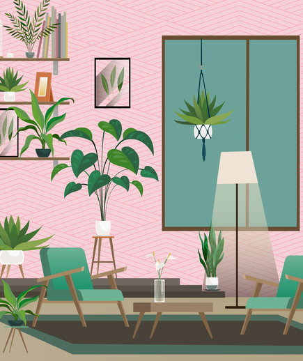 How to Make Your House a Home, illustrated room with plants