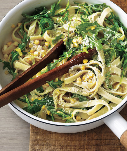 Creamy Fettuccine With Leeks, Corn, and Arugula (12 Delicious Ways to Eat More Greens)