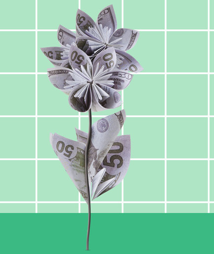 Financial independence and adulthood - money flowers