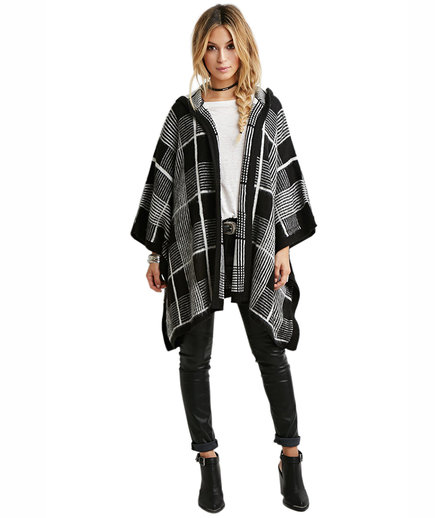 Forever 21 Hooded Plaid Poncho