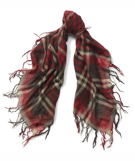 Ralph Lauren Fringed Plaid Scarf