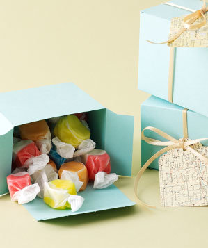 Saltwater taffy in a Paper Source container