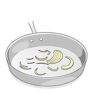 Illustration of onions in a cold pan
