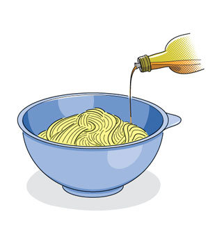Illustration of oil being drizzled over cooked pasta