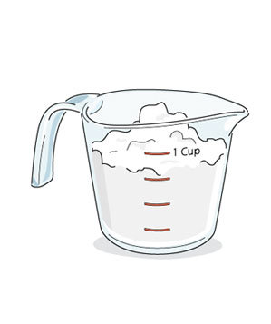 Illustration of flour in a dry measuring cup