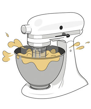 Illustration of dough in a stand mixer