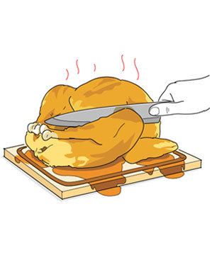 Illustration of a chicken being sliced