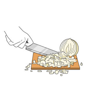 Illustration of an onion being chopped on a small cutting board
