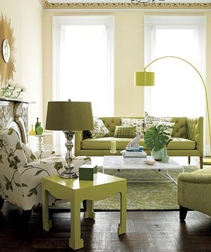 Living room decorated with green furniture