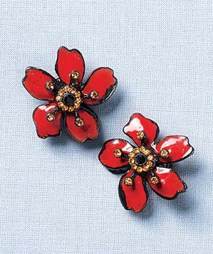 Isaac Manevitz for Ben -Amun red flower earrings